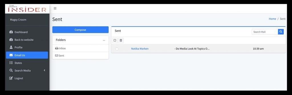 Sent Email Screenshot